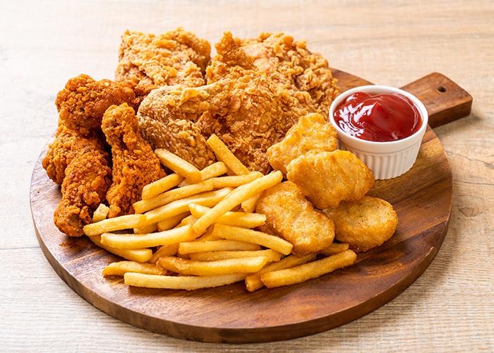 Assiette nugets wings et tenders frites Dieulouard